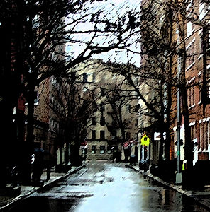 Rain on a Street in New York