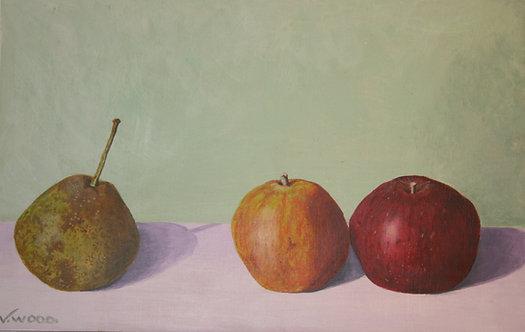 October: Brown Bess Pear, Tydeman's Late Orange Apple and Ingrid Marie Apple