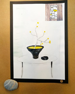 Ikebana In A Black And Yellow Pot