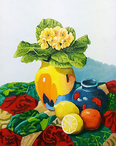 Still Life with Poole Pottery and a Patchwork Quilt