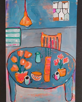 Vases And Cups On A Blue Table