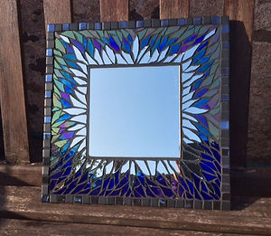 Small Blue & Gold Mirror