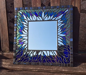 Small Blue & Gold Mirror