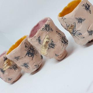 Set of Kurinuki Tea Bowls - Bee