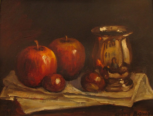 Still Life With Silver Mug And Apples