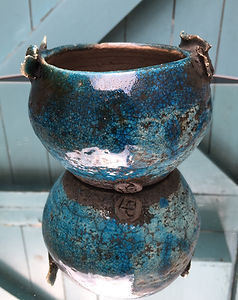 Small Turquoise Naked Raku Bowl