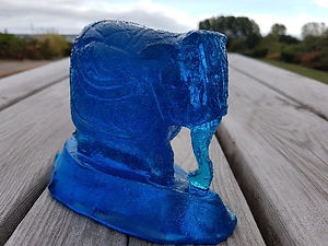 Blue Carved Elephant
