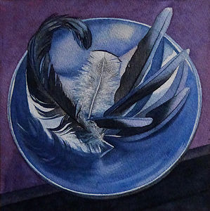 Blue Feathers On Blue Bowl