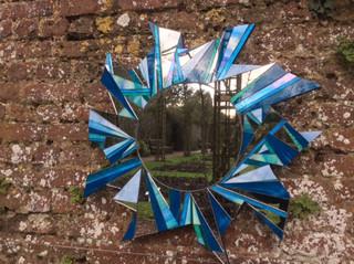 Large Blue Star Mirror