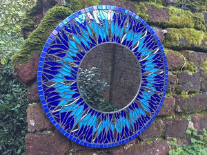 Small Round Blue Starburst Mirror