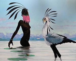 At the Water's Edge - Secretary Bird