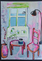 Pink Vase, Table And Chair