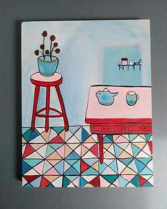 Blue Tea Set, Tiled Floor