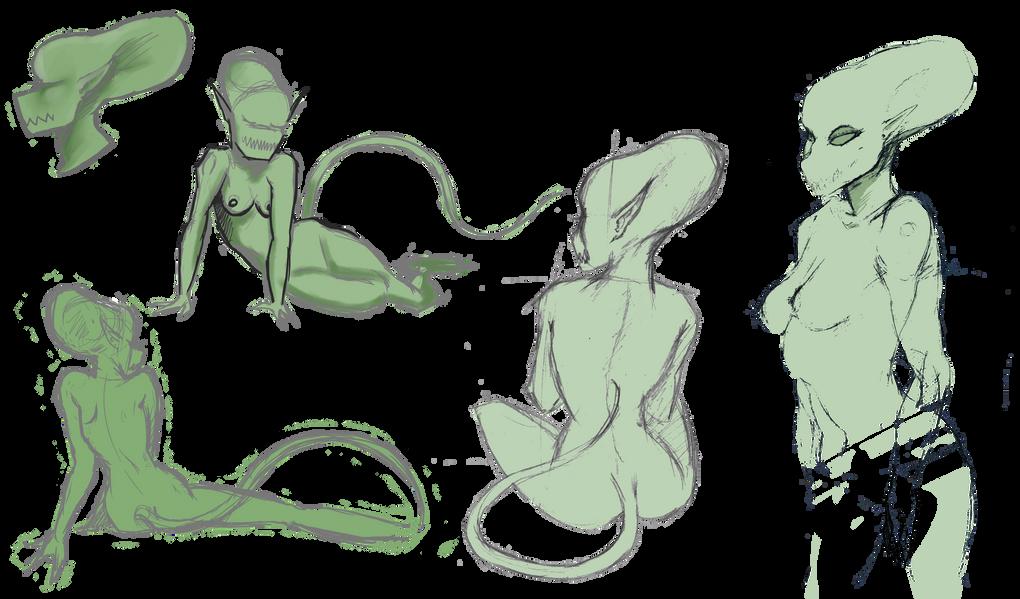 Alien girl Character Sketches