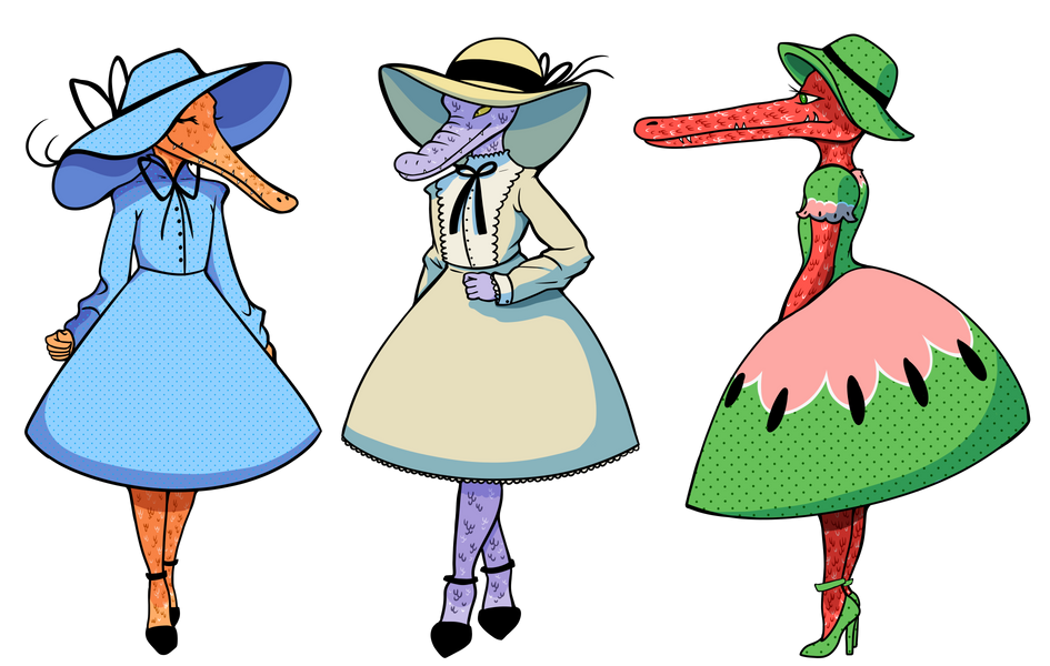 Tea Party Croco-ladies Character Designs