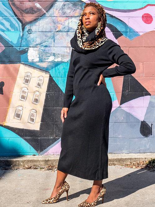 Black stretch turtleneck dress sz XL