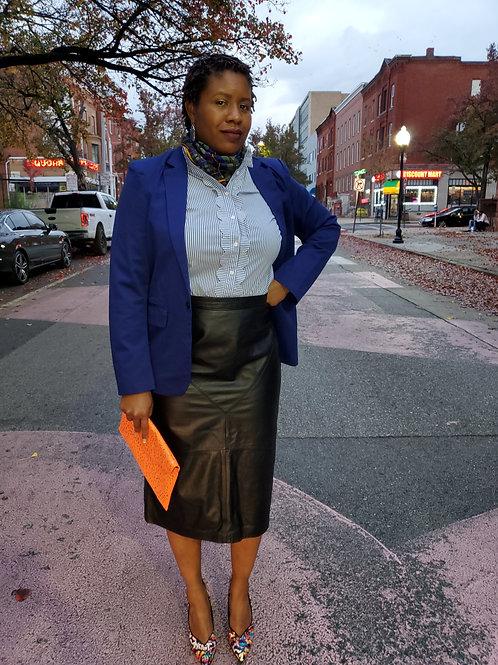 Black leather vintage midi skirt sz 16