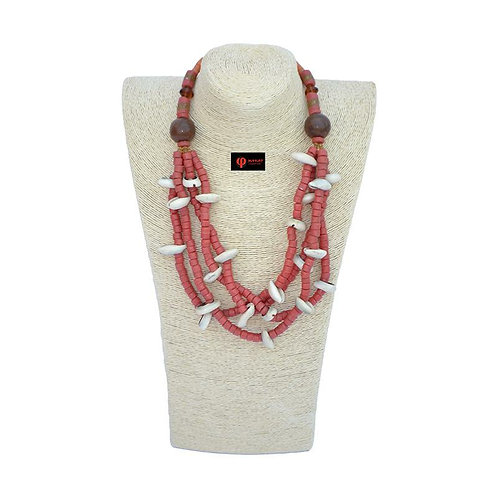 Beaded necklace with cowry shells handmade