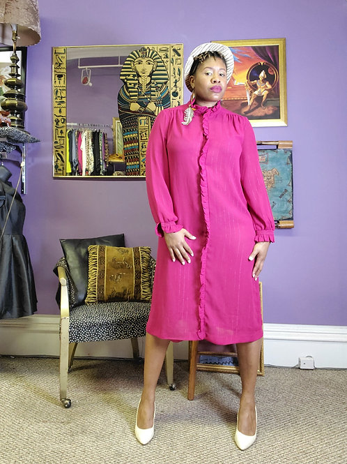 Hot pink sheer long sleeve midi dress sz L