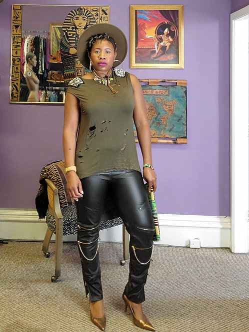 Black leather moto gold zipper faux leather pants sz 14