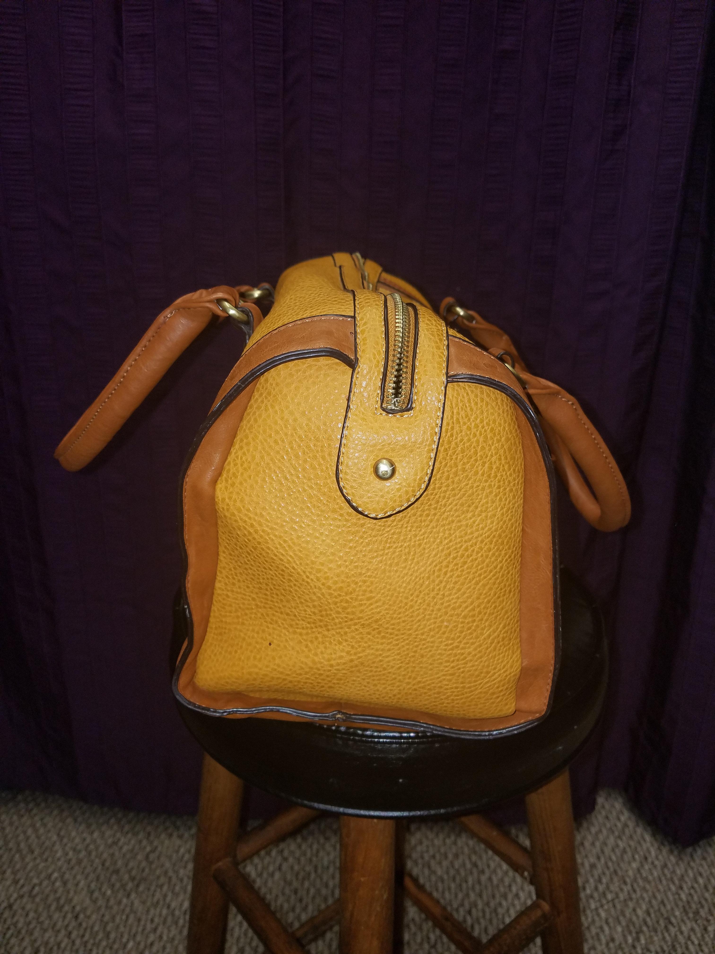 01528712900 ALDO Canary yellow and tan leather-like handbag