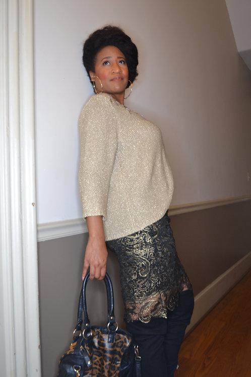 Golden creme knit sweater sz L