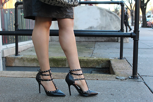 Black leather studded strapped heels