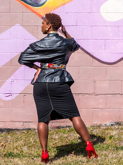 Black stretch midi skirt with back zipper sz 12