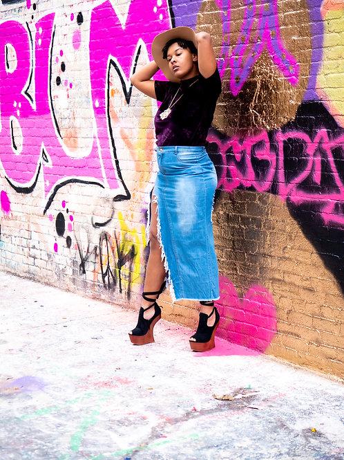 Long distressed denim skirt with thigh slit sz 12