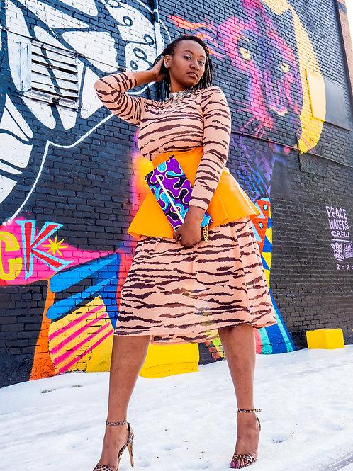 Orange mesh tretch long sleeve tiger maxi dress sz XL