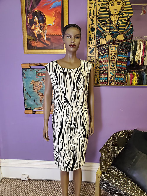 Zebra print linen midi shift dress sz 14