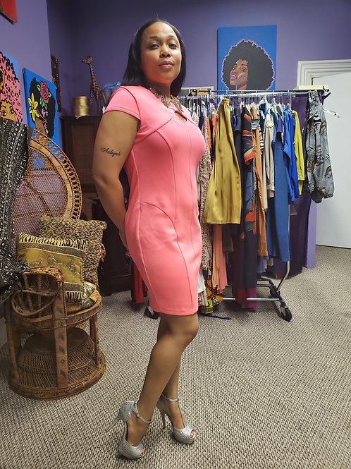 Hot pink club dress sz L