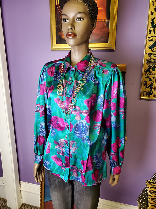 Vintage teal pink floral silk top by NOTATIONS sz 12