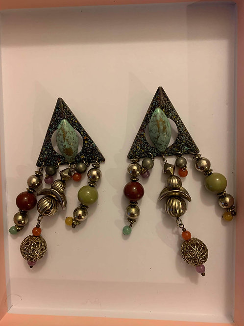 Vintage bead dangle earrings