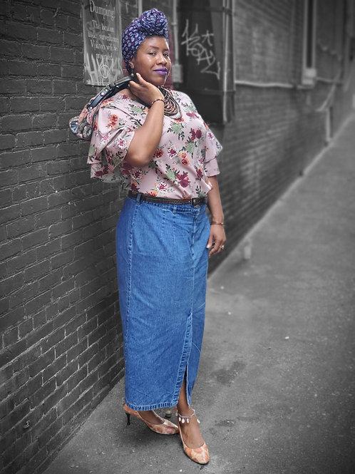 Vintage mauve floral top sz XL