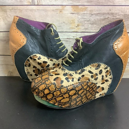 Irregular Choice mixed print wedge booties sz 40EU