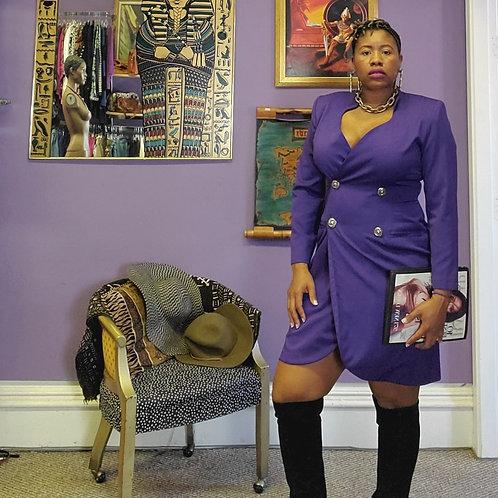 Vintage purple blazer/dress gold buttons sz 14