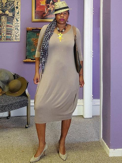 Stone stretch cotton long sleeve Midi dress with pockets sz L