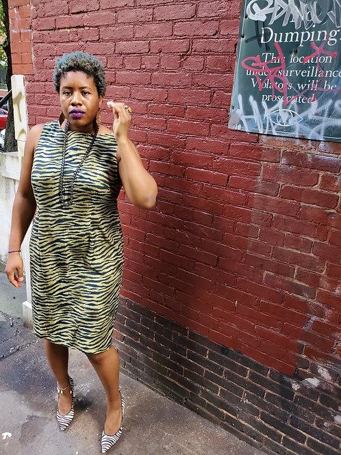 Green tiger print sheath dress sz 16