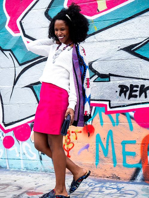 Hot pink suede mini skirt sz XS