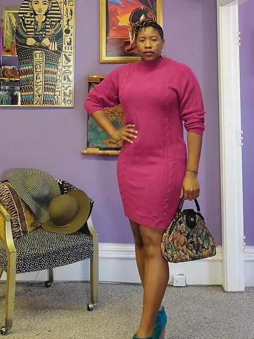 Vintage pink knit sweater dress sz L