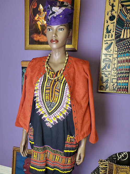 Orange riveted suede crop jacket sz M