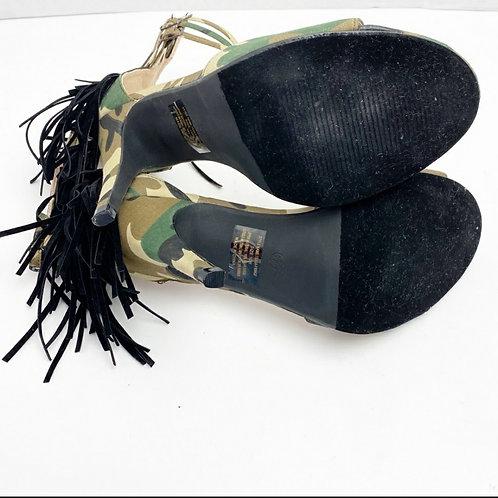 Camo fringe peeptoe ankle strap heels sz 10W