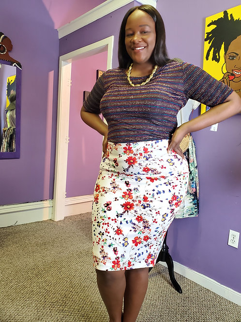 White floral stretch midi skirt sz XL