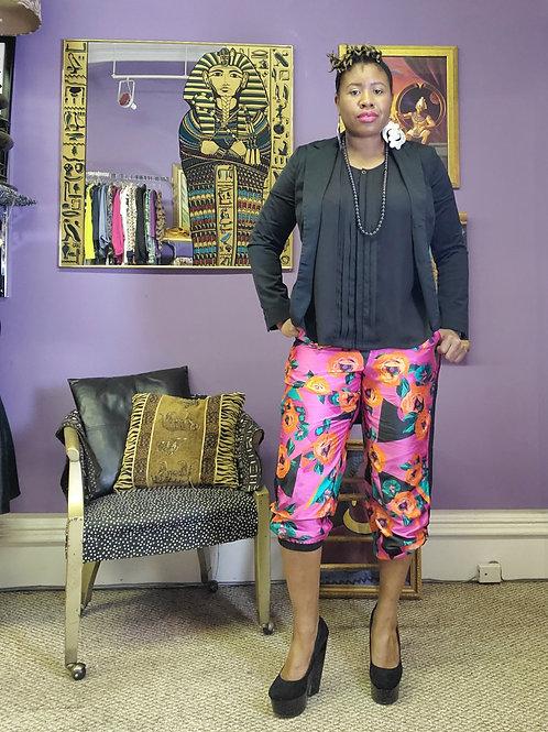Pink floral satin jogger pants by Bisou Bisou sz 14