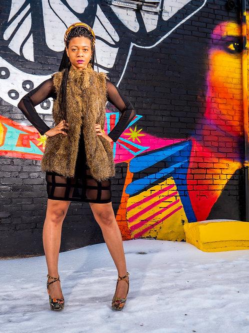 Long brown fur vest by Rachel Zoe sz S