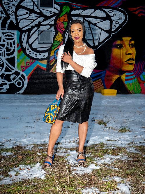 Vintage dark brown leather snake embossed skirt sz 8