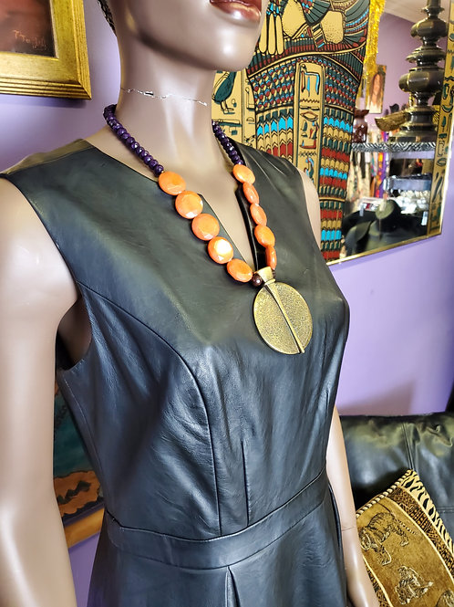 Large brass beaded necklace