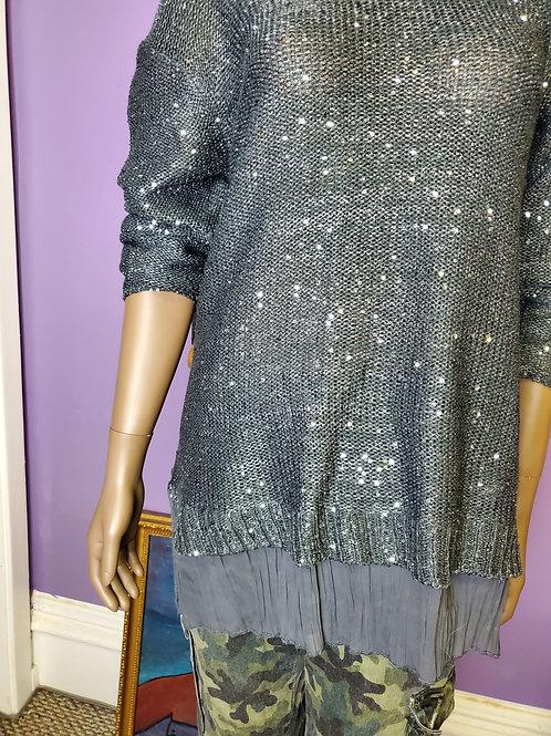 Silver sequin long sleeve sweater sz L