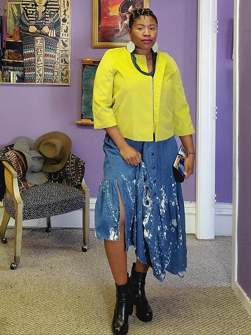 Lime felt crop zipper  jacket sz 14